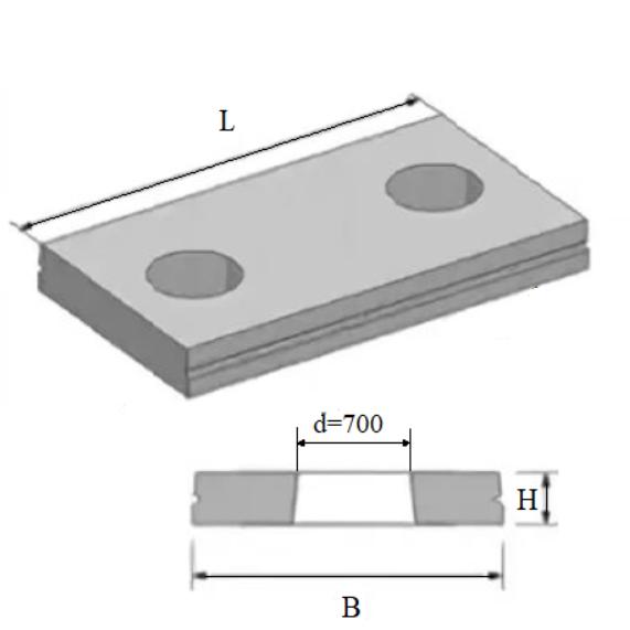 Плита ВП 34-18 2 отверстия